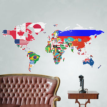 Large Flags Of The World Map Wall Sticker