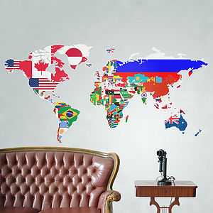Large Flags Of The World Map Wall Sticker - wall stickers