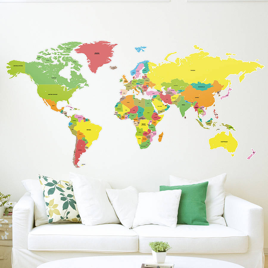 large countries of the world map wall sticker by the binary box. Black Bedroom Furniture Sets. Home Design Ideas