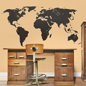 Large Chalkboard World Map Wall Stickers