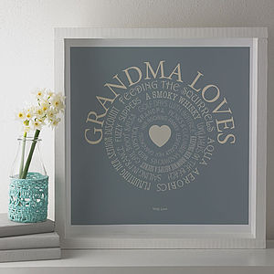 Personalised 'Grandma Loves' Print - gifts for grandparents
