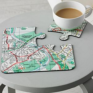 Four Personalised Postcode Map Coasters - kitchen