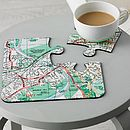 Four Personalised Postcode Map Coasters