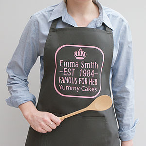 Personalised Queen Of The Kitchen Apron - aspiring chef