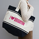 Personalised 'I Love…' Colourful Beach Shopper Bag
