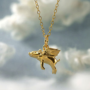 Gold Flying Pig Necklace