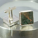 HMS Victory Square Copper Cufflinks set in Sterling Silver