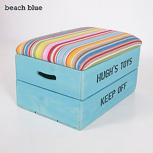 Personalised Wooden Toy Box With Padded Lid - office & study