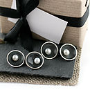 Art Deco Oxidised Silver Pearl Chain Cufflinks