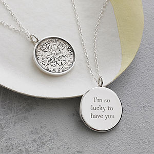 Lucky Sixpence Necklace In Sterling Silver - gifts for her