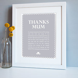 Personalised 'Thanks Mum' Print - gifts for mothers