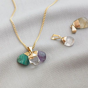 Mini Gemstone Triple Pendant Mix And Match - gifts from adult children