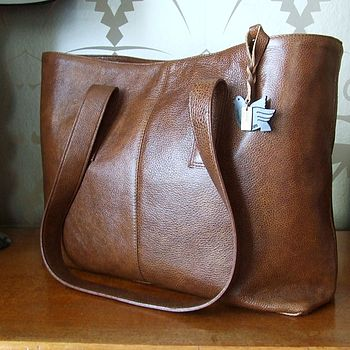 Leather Tote in Teak softly textured leather