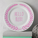 'Hello Baby' Hand Illustrated Plate