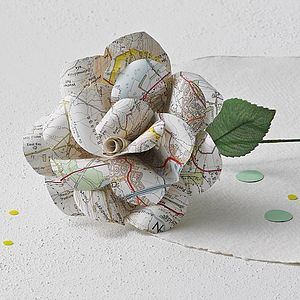 Map Rose - silk & paper flowers