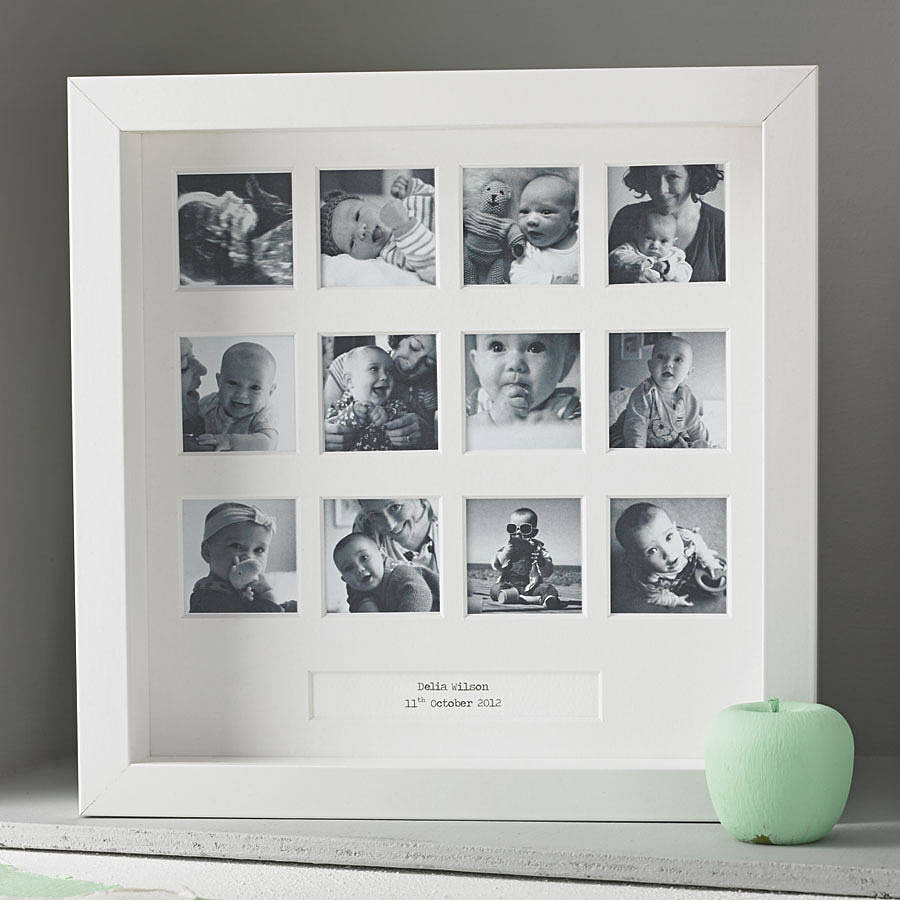 Personalised baby photo albums notonthehighstreet personalised my first year square frame new baby gifts negle