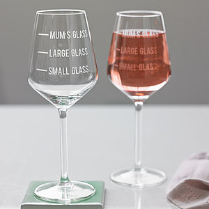 Personalised Mum's Measure Wine Glass - mum loves home sweet home