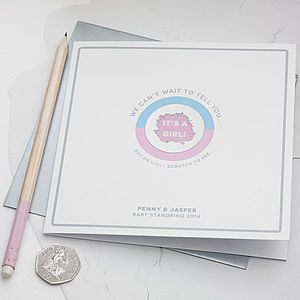 Personalised Gender Reveal Scratch Card - announcement and gender reveal ideas