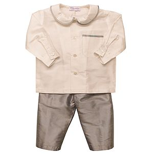 Charles Silk Shirt And Trouser Set Grey - baby & child