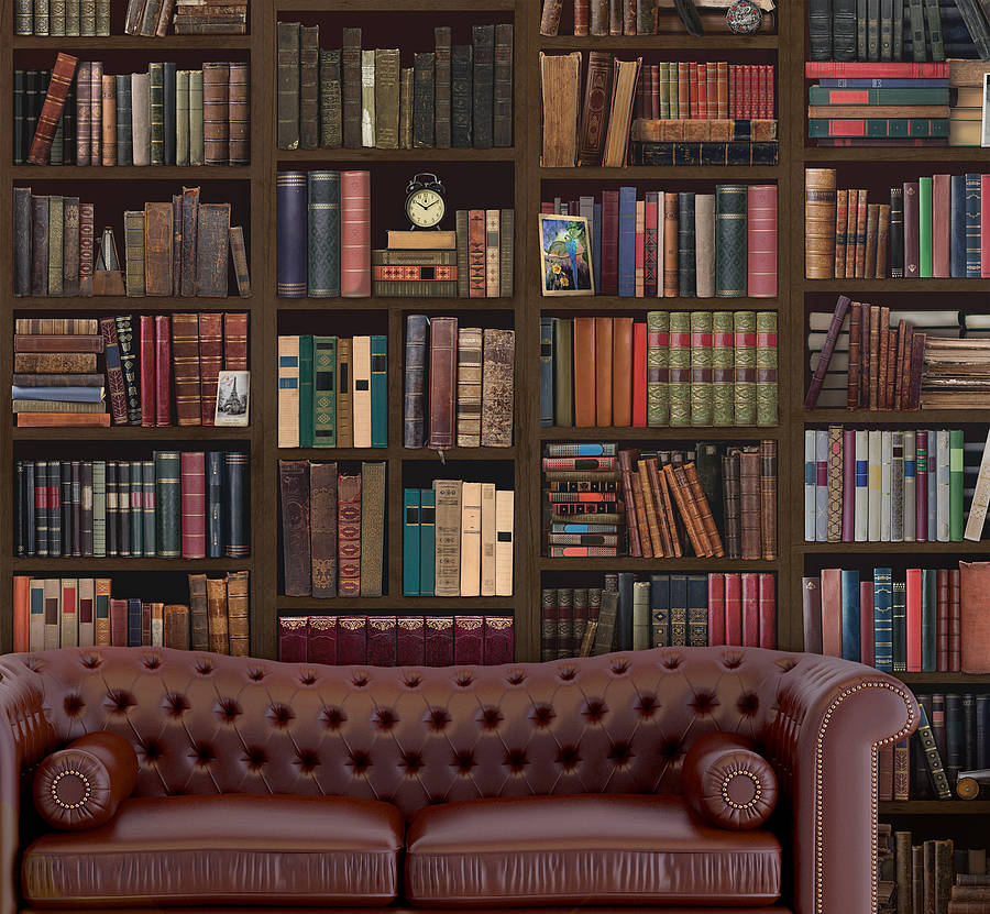 Bookcase self adhesive wall mural by oakdene designs for Bookshelf wall mural