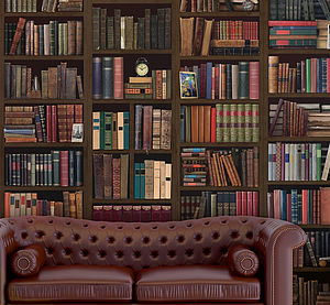 Bookcase Self Adhesive Wall Mural - living room