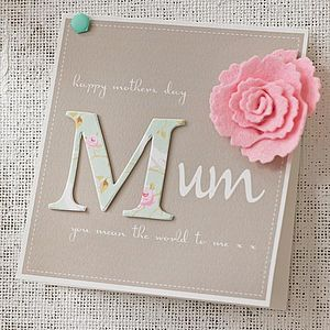 Personalised Felt Flower Mother's Day Card - sentimental cards