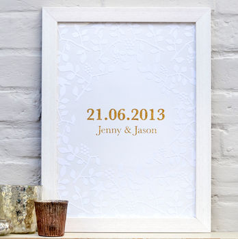 Personalised White And Gold Date Print