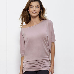 Off The Shoulder Batwing Organic Tunic Top - t-shirts