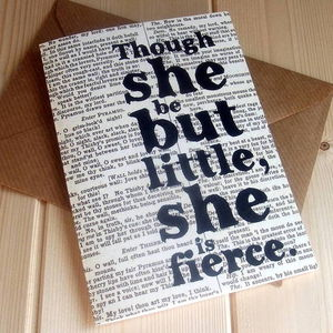 'Though She Be Little' Shakespeare Quote New Baby Card