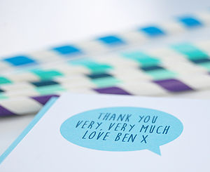 12 Blue Children's Thank You Cards - toys & games