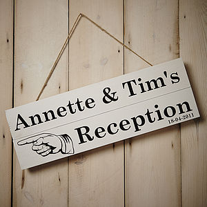 Personalised Reception Direction Sign