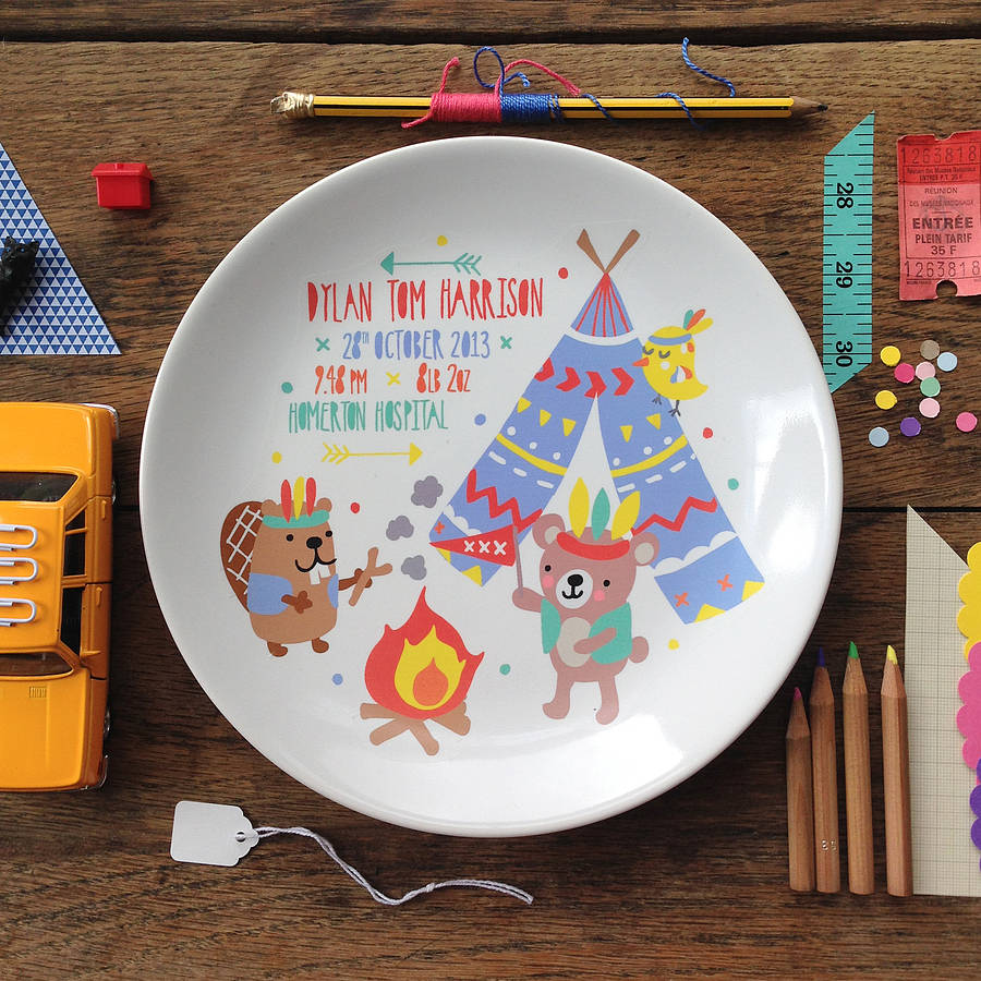 Personalised Teepee Baby Birth Plate
