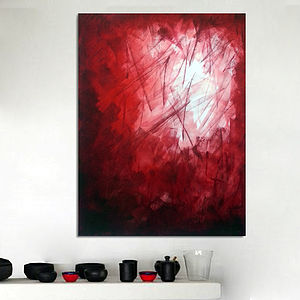 Red Fight Original Abstract Painting - nature & landscape