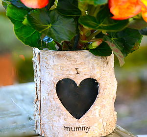 Personalised Birch Bark Vase / Candle Holder - bedroom