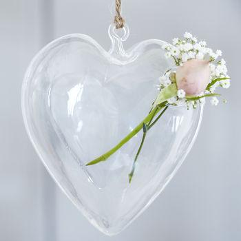 Glass Heart Hanging Vase