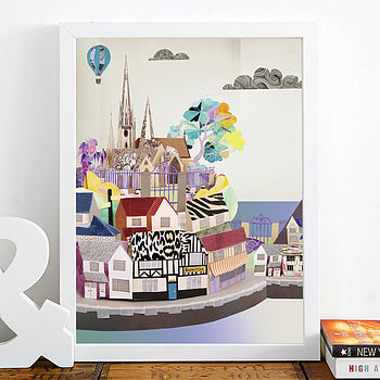 Urban Village Paper Illustration Print