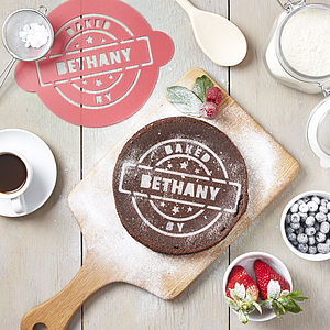Personalised 'Baked By' Cake Stencil - cake decoration