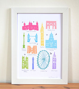 Iconic Buildings Of London Print A4