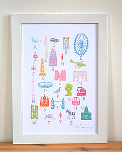 A To Z Of London Print A4