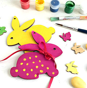 Set Of Paint Your Own Bunny Decorations