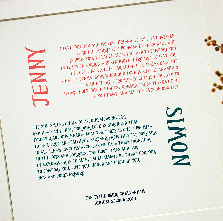 Wedding vows personalised print by spotty n stripy wedding vows personalised print junglespirit Gallery