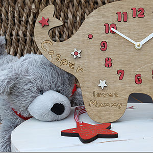 Personalised New Baby Elephant Stars Clock