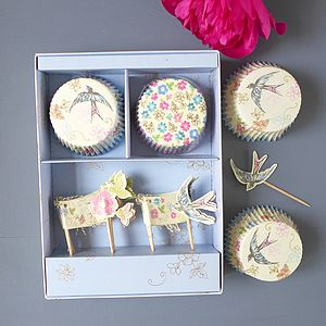 Sale Floral And Swallow Cupcake Set - kitchen