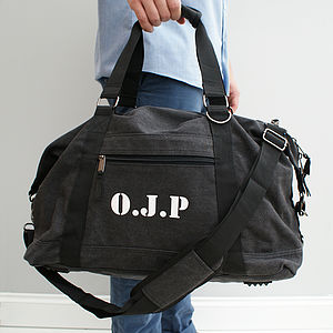 Personalised Men's Canvas Weekend Bag - gifts for him