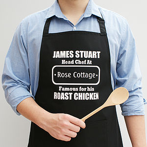 Personalised Men's Head Chef Apron - kitchen