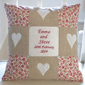 Natural Linen Commemorative Cushion - embroidered & beaded cushions
