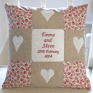 Natural Linen Commemorative Cushion