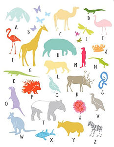 A To Z Animal London Zoo Print A4