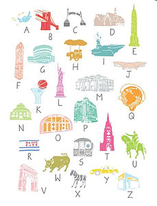 A To Z New York City Print A4 - children's room