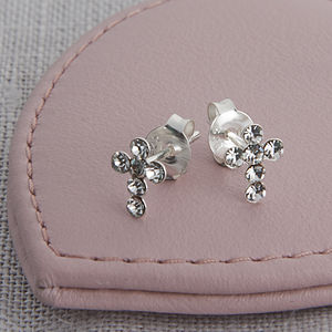Girl's Tiny Sterling Silver And Crystal Cross Earrings - christening jewellery
